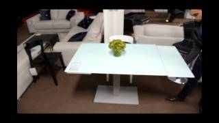 Modern Dining Table With Extension And Frosted Glass  | (866)397-0933 Lafurniturestore.com