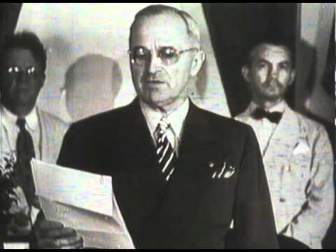 Harry S. Truman announcing the unconditional surrender of Japan