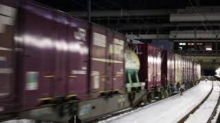 雪の大宮駅を発車するEH500交直流電気機関車