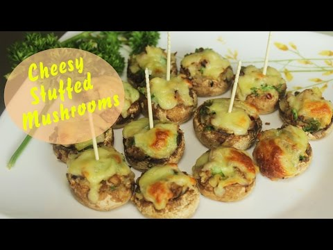 Cheesy Stuffed Mushrooms | Baked Mushroom Appetizer | Easy Party Starter Recipe