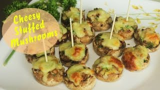 Cheesy Stuffed Mushrooms  Baked Mushroom Appetizer  Easy Party Starter Recipe