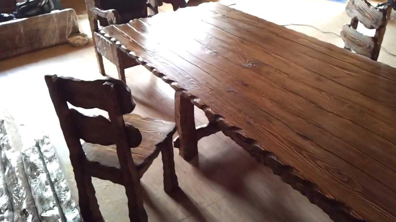 огромный стол 6 метров и стулья из дерева под старину фирмы абажур гкемерово