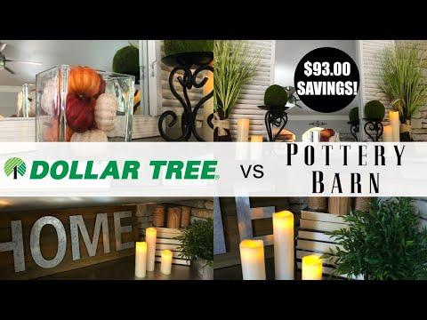 DOLLAR TREE VS POTTERY BARN - FALL DUPE DIY | $7.00 vs $100!