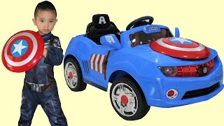 Marvel Avengers Captain America Kids Electric Ride On Car 6V Battery Powered Unboxing Ckn Toys thumbnail