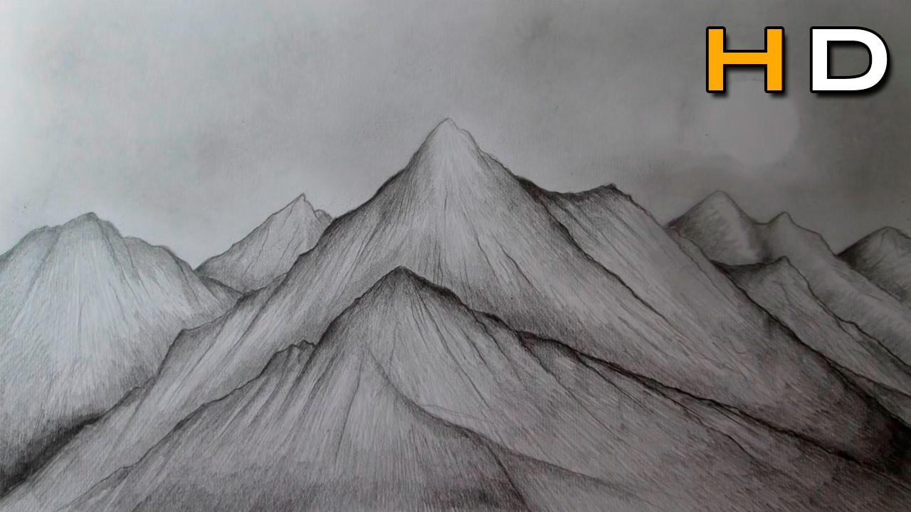How To Draw Mountains With Pencil Step By Step Drawing Landscape