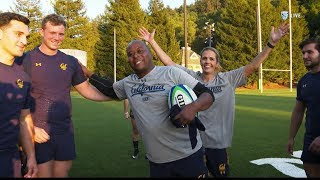 Nigel Burton and Ashley Adamson learn to play rugby with Bears