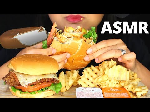 ASMR Chick-fil-A SPICY CHICKEN SANDWICH, WAFFLE FRIES, MAGNUM ICE CREAM BARS Eating Sounds MUKBANG