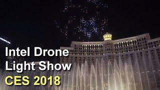 CES 2018 Intel Drone Light Show Over Bellagio Fountains Las Vegas