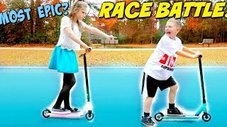 Hope vs Noah Most Epic Race Battle Ever! SuperHeroKids Skits In Real Life w/ Fuzion Scooters