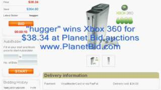 Hugger Wins Xbox 360 At Planet Bid