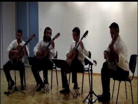 Mexican music played by guitar quartet.