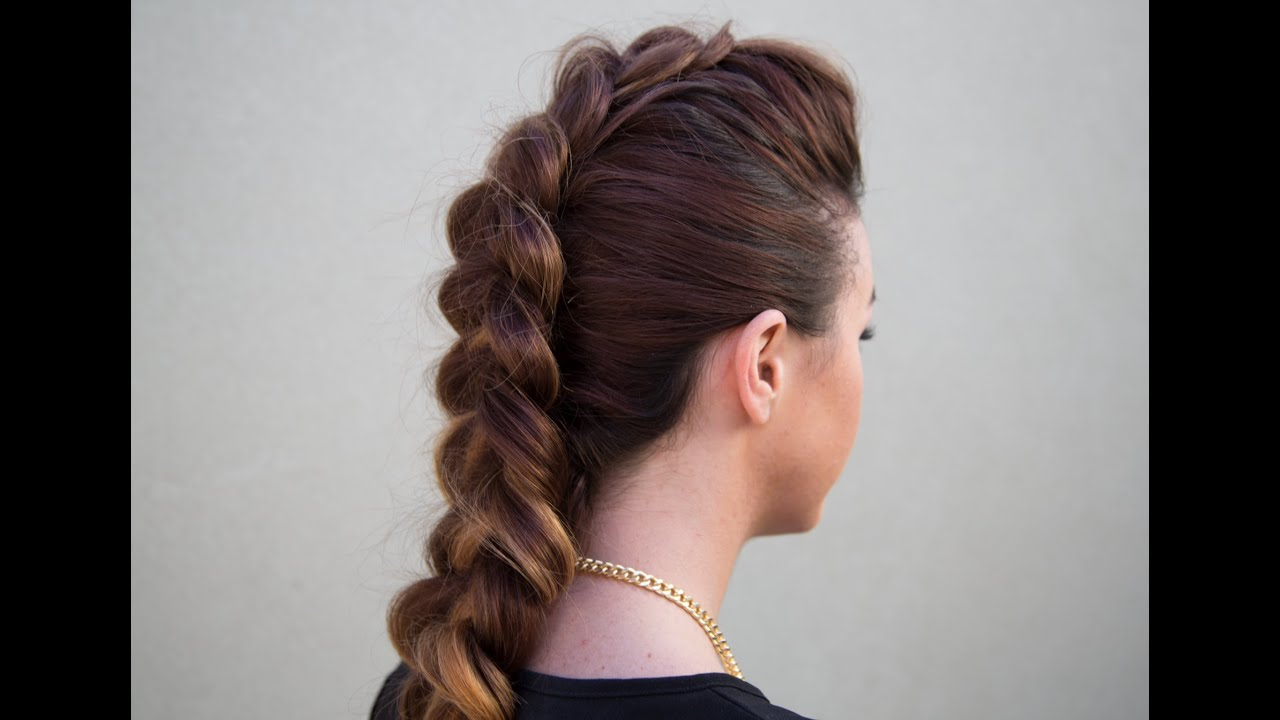 Dutch Braid Faux Hawk Youtube