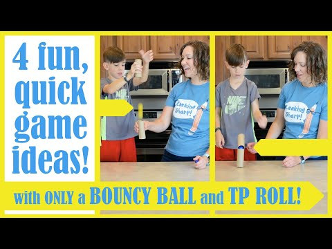 4 FUN Challenges with a BOUNCY BALL and TOILET PAPER ROLL! (Easy Game Ideas)