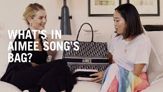 Aimee Song shows Rosie Huntington-Whiteley what's in her makeup bag