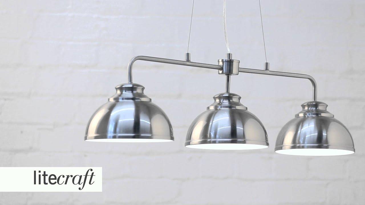 Brooklyn 3 Light Pendant Bar   Satin Chrome | Litecraft   Lighting Your  Home   YouTube