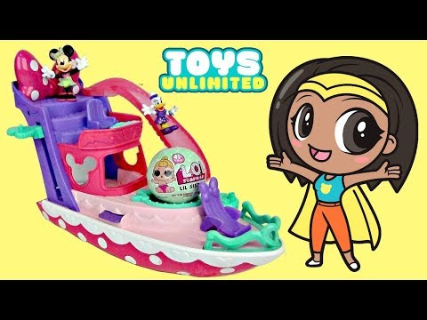 Thumbnail: Disney Jr MINNIE MOUSE Pink Polka Dot Yacht Boat Elevator, Water Slide Pool Party L.O.L. Doll / TUYC