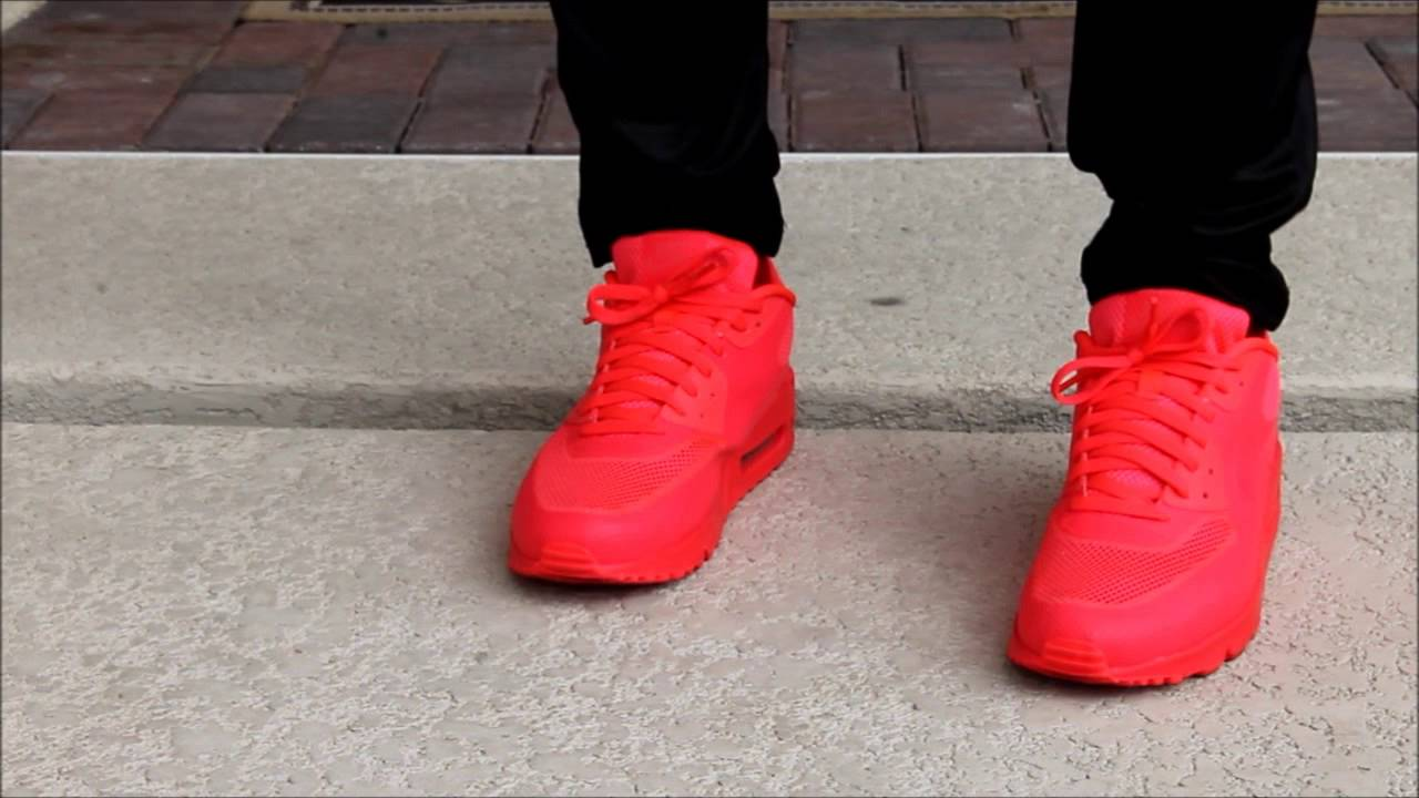 "nike air max thea jacquard - Nike ID ""Solar Red"" Air Max 90 Hyperfuse On Foot Review - YouTube"