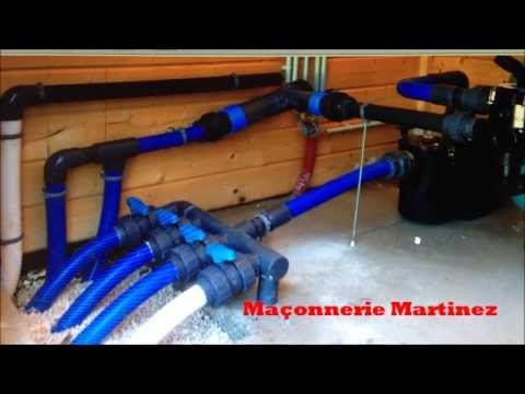 Pose filtration piscine Maçonnerie Martinez - YouTube