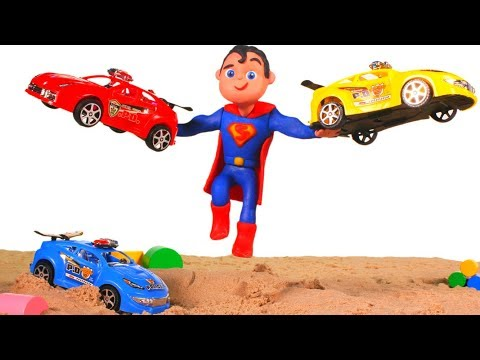 SUPERMAN SAVES THE RACE CARS  鉂� SUPERHERO PLAY DOH CARTOONS FOR KIDS