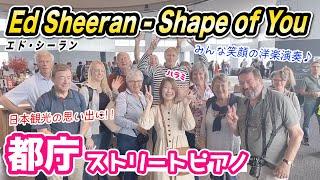 【Ed Sheeran】Shape of Youの演奏で、まさかの外国人観光客の撮影会が始まった?!【都庁ピアノ】