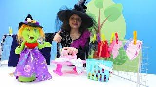 Маленькая ведьмочка Кати - Баба Яга делает уборку - Видео для девочек