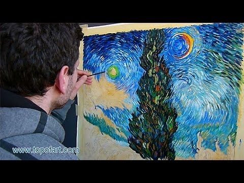 Art Reproduction (van Gogh - Road with Cypress and Star) Hand ...
