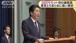 安倍総理 G20で貿易や環境問題取りまとめに意欲(19/06/27)