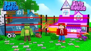 Minecraft Most Secure  Base - BOYS HOUSE vs GIRLS HOUSE!!!