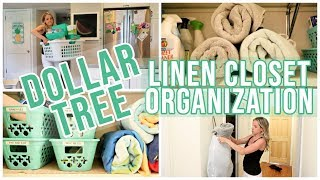 CLEAN WITH ME 2019 // DOLLAR TREE DIY EXTREME LINEN CLOSET ORGANIZATION & HACKS