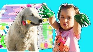 DIY Детский картонный Домик своими руками Ангела папа и собака раскрасили домик для детей Bibalina