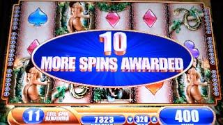 Queen of the Wild *MAX BET* Bonus with 2 Retriggers WMS Slot Machine
