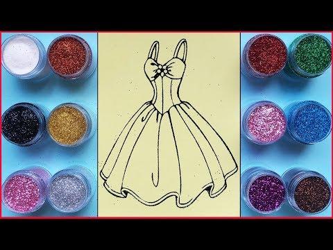 Đồ Chơi Tô Màu Kim Tuyến đầm Công Chúa 7 Màu / Princess Dress Sand Painting Toys (Chim Xinh)