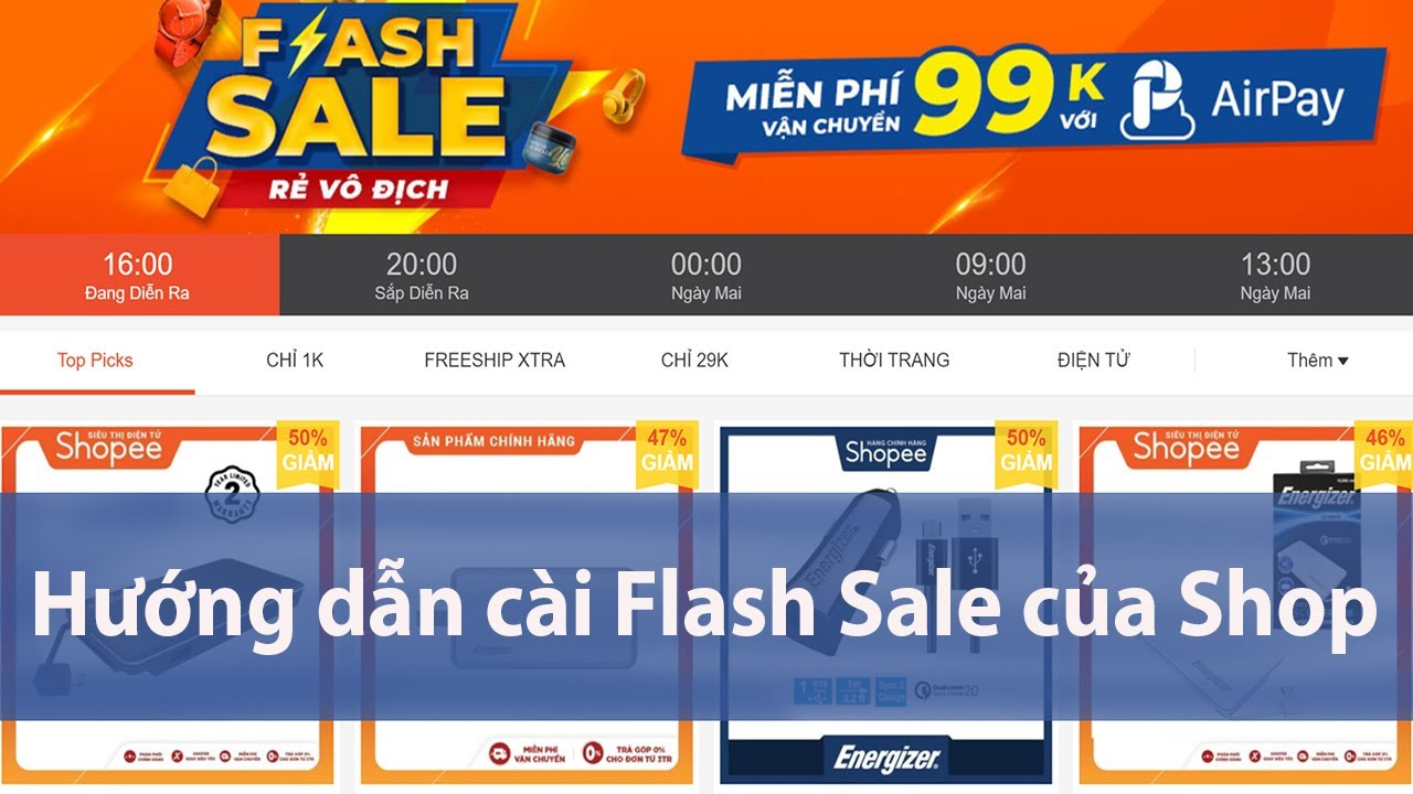 Hướng dẫn cài Flash Sale của Shop trên Shopee 2020