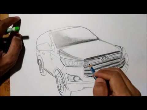 Menggambar Mobil Toyota Kijang Innova Menggunakan Pensil Youtube