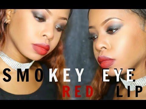 smokey eye x red lip holiday makeup tutorial beginner