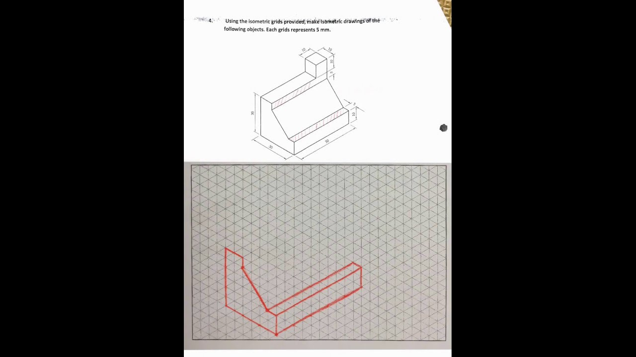 Steps Isometric drawing Worksheet 2 Question 4 YouTube – Isometric Drawing Worksheet