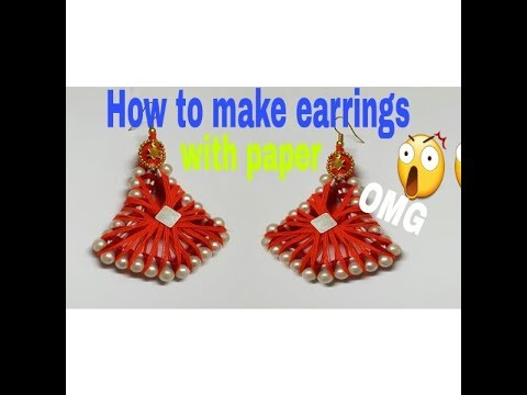 DIY earrings making using paper and yarn// Making of earrings at home