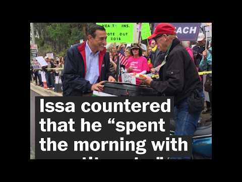 Was Rep. Darrell Issa really hiding from protesters on a roof?
