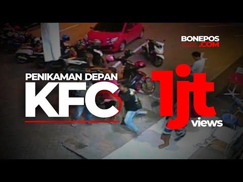 Ngeri, Ini Dia Rekaman CCTV Detik detik Penikaman di Depan KFC Bone