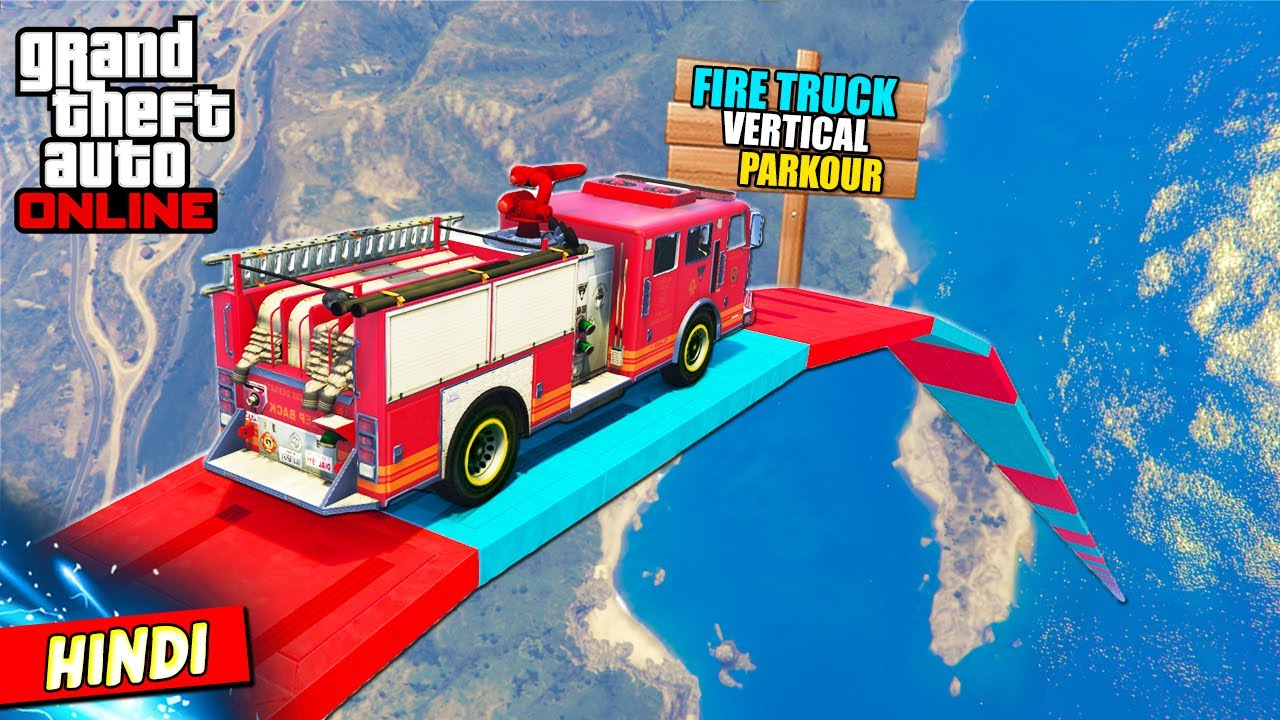 GTA 5 : MIND BLOWING EMERGENCY FIRE TRUCK PARKOUR (Insane Vertical Ramps) 🔥🚒❌