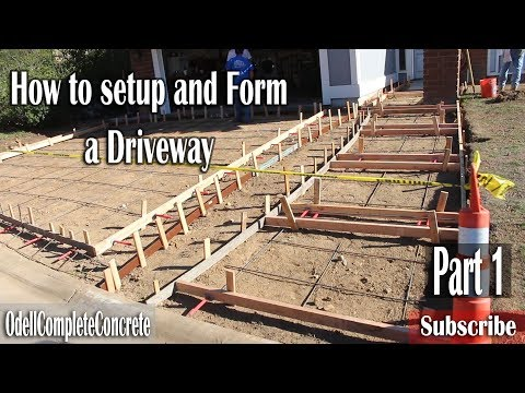 How to Form a Concrete Driveway With Random Stone Stamped Bands Part 1