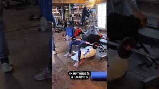 Exercice 2 10 x Deadlift + 1 burpee 9 x Clean + 2 burpees 8 x squats + 3 burpees 7 x push press + 4 burpees 6 x hip thrusts + 5 burpees Dernière série: 3 ...