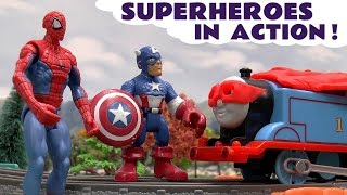 spiderman and avengers superheroes toys with play doh thomas and friends surprise eggs scooby doo