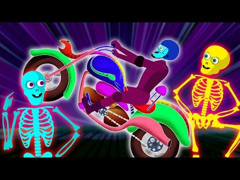 Crazy Skeleton Riders On GHOST BIKE | Rescue Len & Mini Midnight Adventure Fun Songs By Teehee Town |