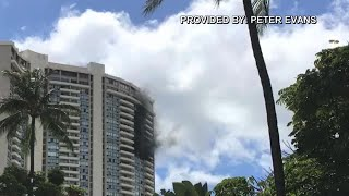 Marco Polo building fire (Video: Peter Evans)