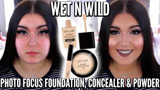 new wet n wild photo focus foundation concealer powder oily acne first impression demo review