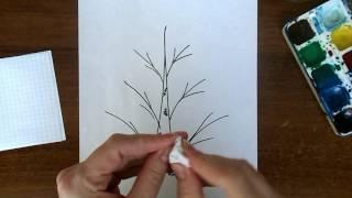 Уроки рисования БЕРЕЗА   для детей 4 5 лет