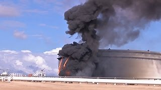 Raw: Libyan Oil Tank on Fire Amid Clashes