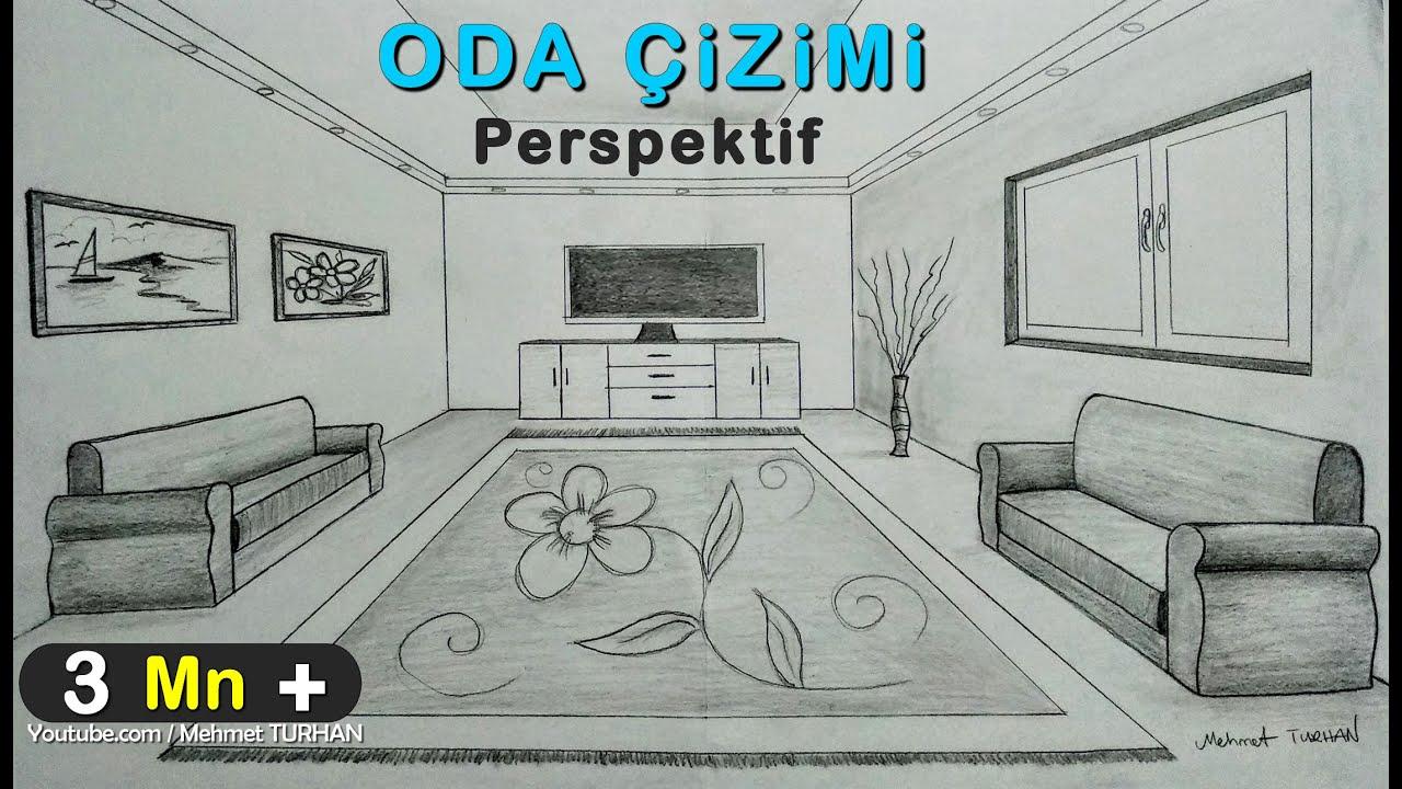 Oda Cizimi Tek Nokta Perspektifli Ic Mekan Cizimi How To Draw A