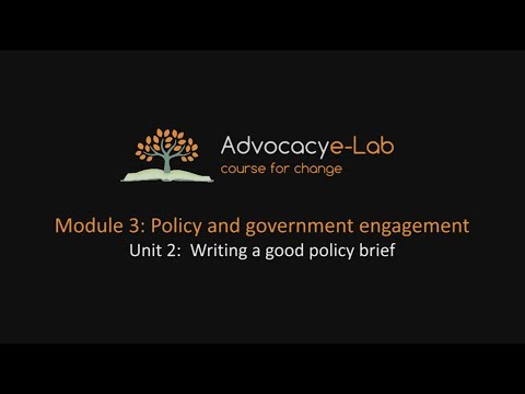 Unit 2: Writing a good policy brief